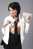 woman handling lots of cash Stock Photography