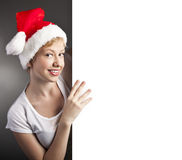 Sexy woman happy and holding empty banner Royalty Free Stock Images
