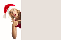 Sexy woman happy smiling and holding empty banner Royalty Free Stock Photos