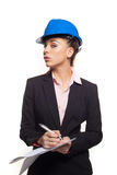 Sexy woman in a hardhat Royalty Free Stock Photography
