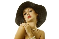 Sexy woman in hat Stock Images
