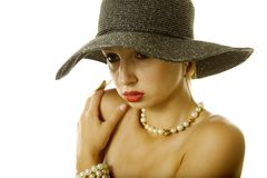 Sexy woman in hat Stock Image