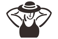 Sexy Woman With a Hat Design Ornament Symbol Logo. For a variety of purposes Royalty Free Stock Photo