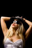 Sexy woman with hat and sunglasses Royalty Free Stock Image