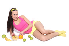 Sexy woman with healthy food Royalty Free Stock Image