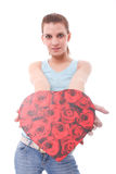 Sexy woman with heart shaped Stock Image