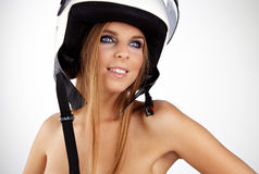 Sexy woman with helmet Royalty Free Stock Photos
