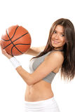 Sexy woman holding Basketball ball in hands Royalty Free Stock Photos