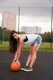 Sexy Woman Holding Basketball In Hand Stock Photo