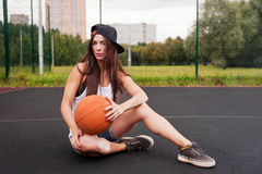 Sexy Woman Holding Basketball In Hand Stock Photos