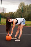 Sexy Woman Holding Basketball In Hand Royalty Free Stock Image