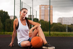 Sexy Woman Holding Basketball In Hand Royalty Free Stock Photo