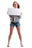 Sexy woman holding a blank white board to present something Stock Photos