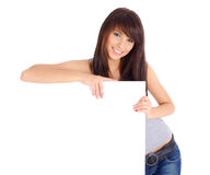 Sexy woman holding board Royalty Free Stock Image