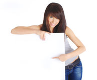 woman holding board stock photography