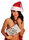 Sexy woman holding gift box Stock Photos