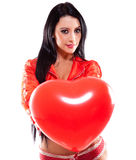 Sexy woman holding a heart Stock Photos