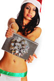 Sexy woman holding out  gift box Royalty Free Stock Photo