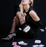 Sexy woman holding playing cards Stock Photography