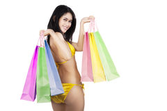 Sexy woman holding shopping bags isolated Stock Photo