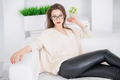 woman at home stock image