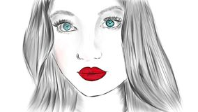 Woman face illustrated Royalty Free Stock Image