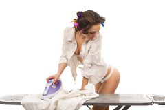 Sexy woman ironing clothes Stock Images