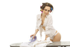 Sexy woman ironing clothes Royalty Free Stock Image