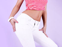 Sexy woman in jeans Royalty Free Stock Image