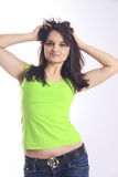Sexy  woman in jeans dance with untidy hair Royalty Free Stock Photos