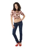 Sexy woman in jeans and high heels Royalty Free Stock Photos