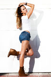 sexy woman in jeans shorts outdoor Stock Photography
