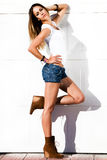 sexy woman in jeans shorts outdoor Royalty Free Stock Photography