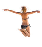 Sexy woman jumping Stock Images