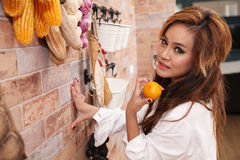 Sexy woman in kitchen. Young sexy woman in kitchen Stock Photography