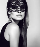 Sexy woman in lace mask with luxurious straight hair Stock Images