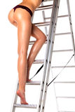 Sexy woman on a ladder Royalty Free Stock Image