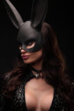 Sexy woman with large breasts wearing a black bunny mask standing on dark background and looks very sensually closeup portrait. Royalty Free Stock Images