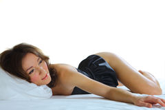 Sexy woman laying on her stomach Stock Image