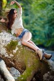 Sexy woman laying on a log Stock Photos