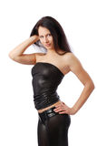 Sexy woman in leather clothes. Stock Photography