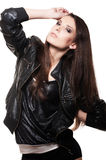 Sexy woman in leather coat Royalty Free Stock Images