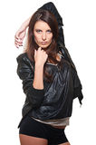Sexy woman in leather coat Royalty Free Stock Image