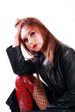 Sexy woman in leather jacket Royalty Free Stock Photos