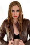 woman on leather jacket stock photography
