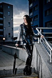 Sexy Woman In Leather And Raincoat Royalty Free Stock Images