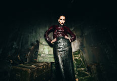 Sexy woman in leather skirt and claret shirt Royalty Free Stock Image