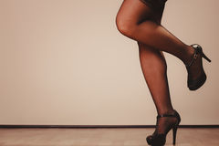 Sexy woman legs in black Royalty Free Stock Images