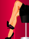 Sexy woman legs palying with black shoes. Flirt Royalty Free Stock Photos