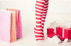 Woman legs. Christmas concept stock photography